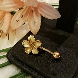 14K YELLOW GOLD PLUMERIA BELLY RING